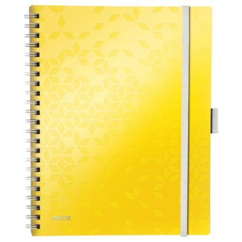 Spirálfüzet LEITZ Wow Active A/4 80 lapos kockás sárga