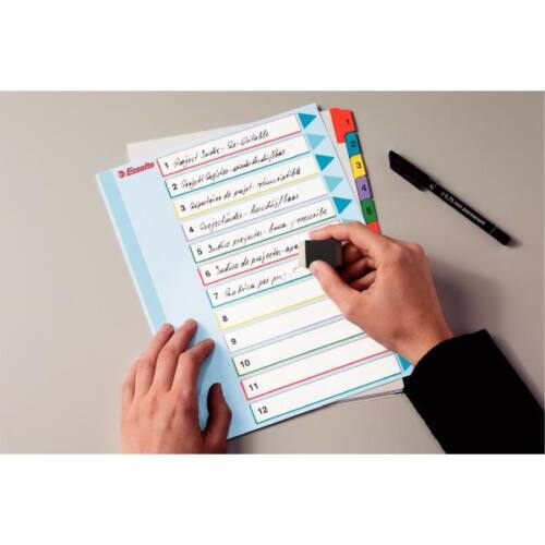 Regiszter ESSELTE A/4 maxi laminált karton újraírható 1-12