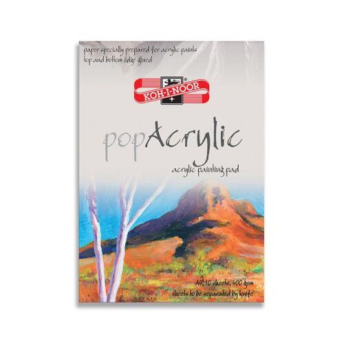 Rajztömb KOH-I-NOOR Pop Acrylic A/4 speciális papírból 400gr 10 lapos
