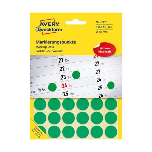 Etikett AVERY 3376 öntapadó jelölőpont zöld 18mm 1056 jelölőpont/csomag