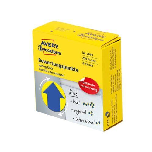 Etikett AVERY 3860 öntapadó jelölőpont adagoló dobozban kék nyíl sárga alpon mintás 19mm 250 jelölőpont/doboz
