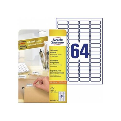 Etikett AVERY L6021REV-25 6021 45,7x16,9mm függőmappa címke 1600 címke/doboz 25 ív/doboz