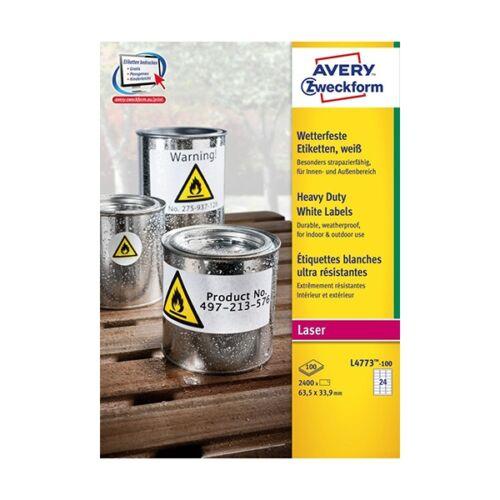 Etikett AVERY L4773-100 63,5x33,9mm időjárásálló fehér poliészter 2400 címke/doboz 100 ív/doboz
