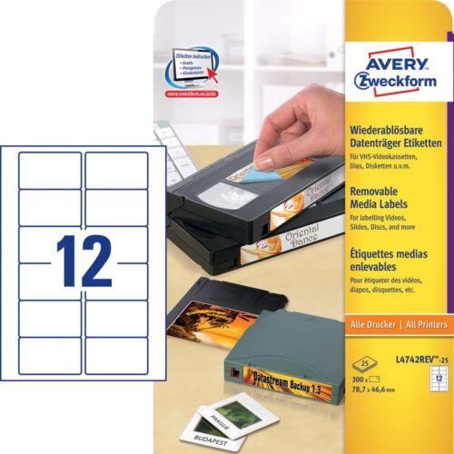 Etikett AVERY L4742REV-25 78,7x46,6mm visszaszedhető 300 címke/doboz 25 ív/doboz
