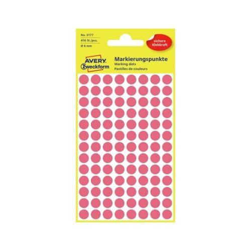 Etikett AVERY 3177 jelölőpont 8mm neon piros 416 db/csomag