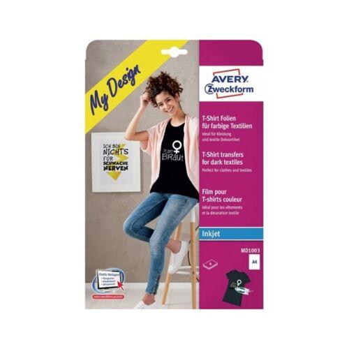 Textilre vasalható fólia AVERY MD1003 sötét pólóra vasalható tintasugaras nyomtatóhoz 4 ív/csomag