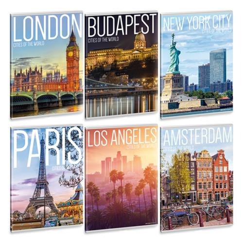 Füzet ARS UNA A/5 40 lapos Extra kapcsos kockás  Cities of the world 21