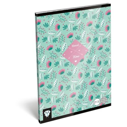 Füzet LIZZY CARD A/5 32 lapos kockás 27-32 Flower green