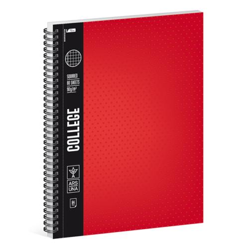 Spirálfüzet ARS UNA College A/4 80 lapos négyzethálós piros