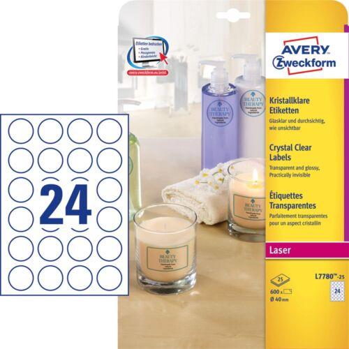 Etikett AVERY kör alakú víztiszta átlátszó címke 40 mm átmérő 600 címke/doboz 25 ív/doboz