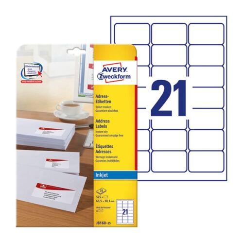 Etikett AVERY J8160-25 63,5x38,1mm inkjet 525 címke/doboz 25 ív/doboz