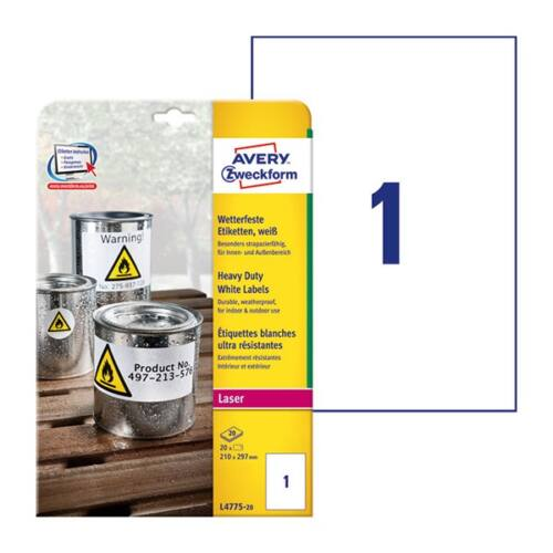 Etikett AVERY L4775-20 210x297mm időjárásálló fehér poliészter lézer 20 címke/doboz 20 ív/doboz