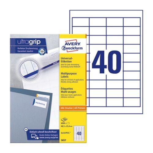 Etikett AVERY 3657 48,5x25,4mm univerzális 4000 címke/doboz 100 ív/doboz