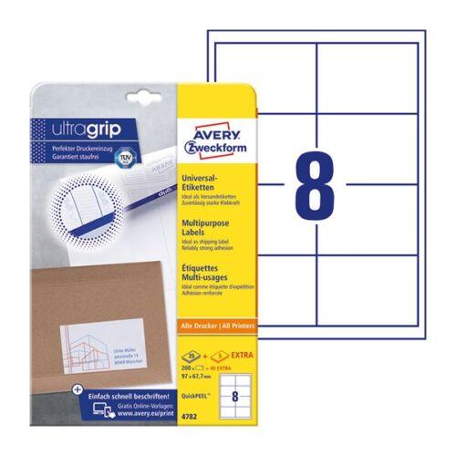 Etikett AVERY 4782 97x67,7mm univerzális 200 címke/doboz 25 ív/doboz