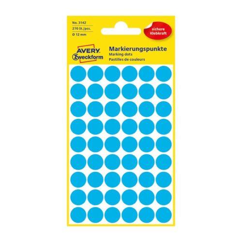 Etikett AVERY 3142 jelölőpont 12mm kék 270 db/csomag