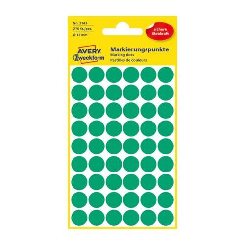 Etikett AVERY 3143 jelölőpont 12mm zöld 270 db/csomag