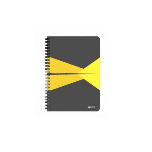 Spirálfüzet LEITZ Office A/5 PP borítóval 90 lapos kockás sárga