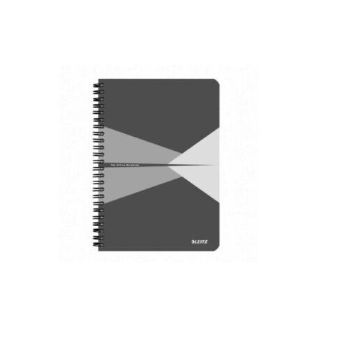 Spirálfüzet LEITZ Office A/5 PP borítóval 90 lapos kockás szürke
