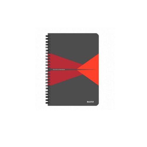 Spirálfüzet LEITZ Office A/4 PP borítóval 90 lapos kockás piros