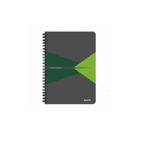 Spirálfüzet LEITZ Office A/4 PP borítóval 90 lapos kockás zöld