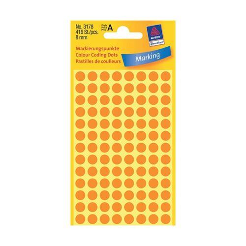 Etikett AVERY 3178 jelölőpont 8mm neon narancs 416 db/csomag