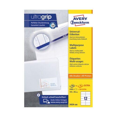 Etikett AVERY 3424-200 105x48 mm univerzális fehér 2640 címke/doboz 200+20 ív/doboz