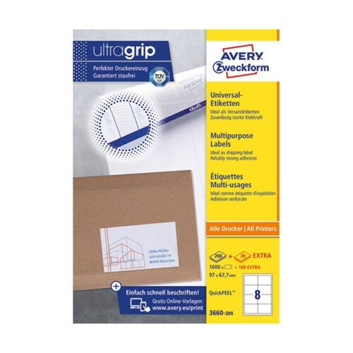 Etikett AVERY 3660-200 97x67,7 mm fehér univerzális 1760 címke/doboz 200+20 ív/doboz